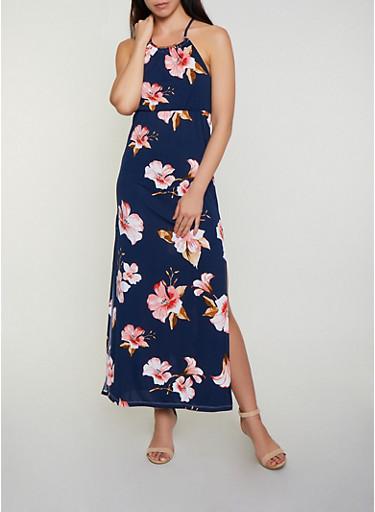 Floral Metallic Neck Detail Maxi Dress,NAVY,large