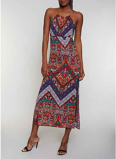 Metallic Neckline Mixed Print Maxi Dress | 0094038349686,MULTI COLOR,large