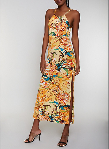 Metallic Neckline Floral Maxi Dress | 0094038349687,YELLOW,large