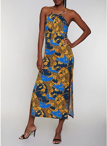 Metallic Neckline Mixed Print Maxi Dress | 0094038349688,BLUE,large