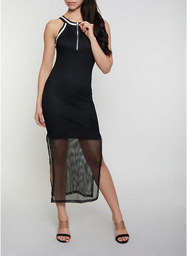 Zip Neck Fishnet Maxi Dress,BLACK,large