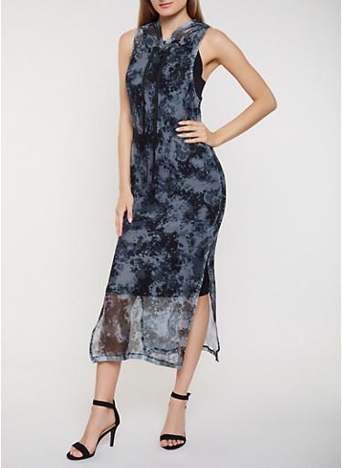 Tie Dye Fishnet Hooded Tank Maxi Dress,BLACK,large