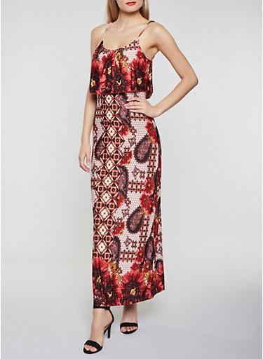 Printed Ruffle Overlay Cami Maxi Dress,RUST,large
