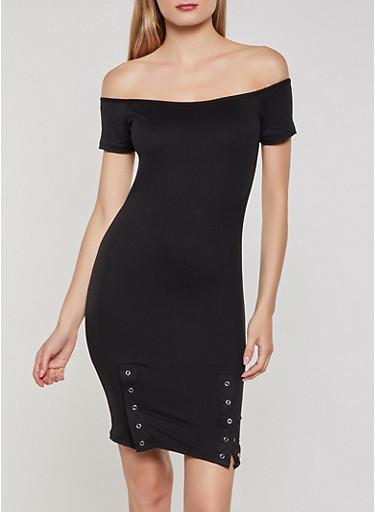 Off the Shoulder Snap Hem Dress,BLACK,large