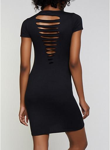 Soft Knit Slashed Back T Shirt Dress,BLACK,large