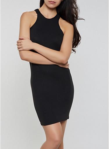 Solid Tank Mini Dress,BLACK,large