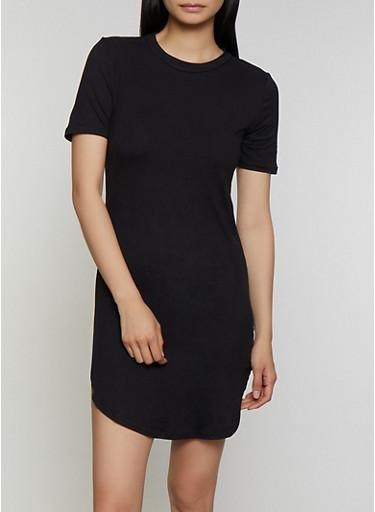 Soft Knit Round Hem T Shirt Dress,BLACK,large