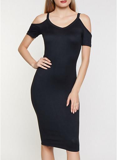 Cold Shoulder Soft Knit Midi Dress,BLACK,large