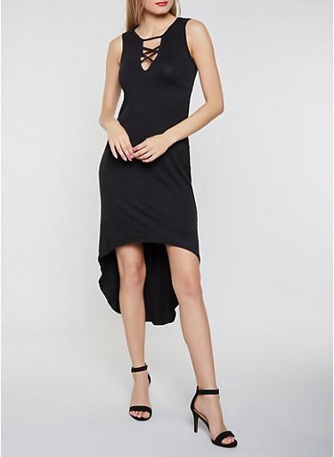Caged High Low Tank Dress,BLACK,large