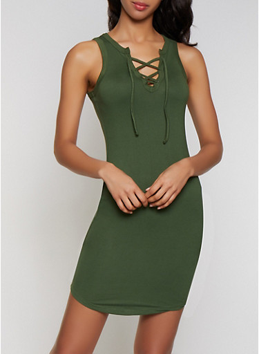 Lace Up Tank Dress,OLIVE,large