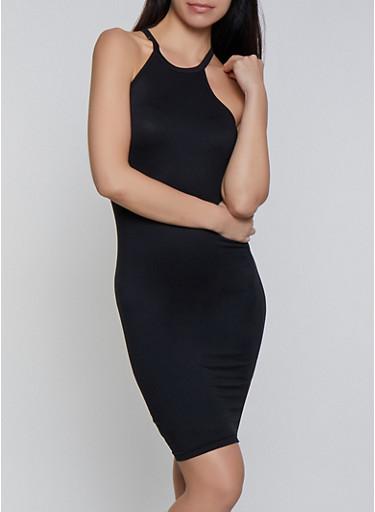 Slashed Back Cami Dress,BLACK,large