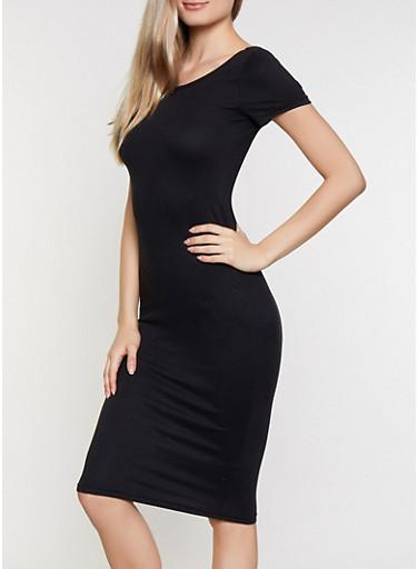Soft Knit Scoop Back Bodycon Dress,BLACK,large