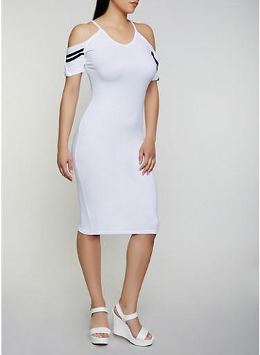 Varsity Stripe Cold Shoulder Midi Dress,WHITE,large