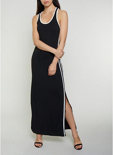 Soft Knit Varsity Stripe Maxi Tank Dress,BLACK,large