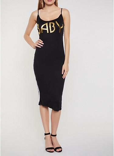 Baby Striped Tape Cami Dress,BLACK,large