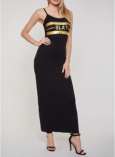 Slay Foil Graphic Maxi Cami Dress,BLACK,large