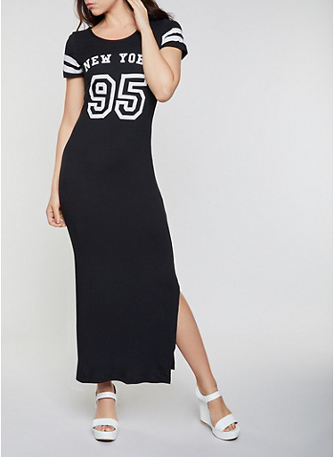 New York 95 Maxi T Shirt Dress,BLACK,large