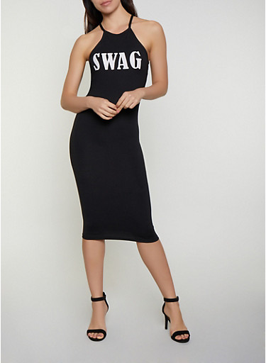 Swag Soft Knit Tank Dress,BLACK,large