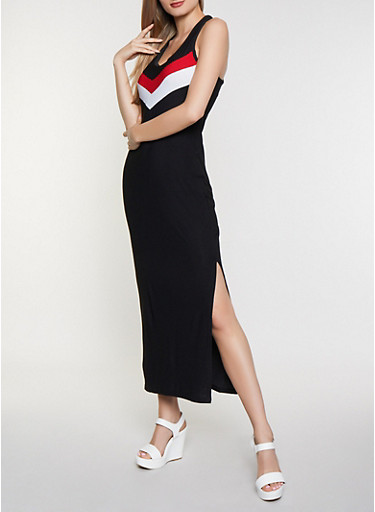 Chevron Detail Tank Maxi Dress,BLACK,large