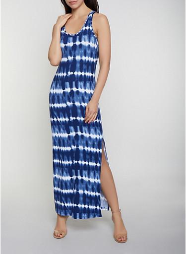 Tie Dye Striped Racerback Tank Maxi Dress,NAVY,large