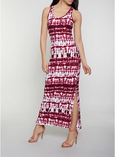 Tie Dye Racerback Tank Maxi Dress | 0094038349902,WINE,large