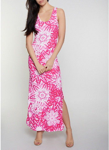 Tie Dye Star Print Maxi Dress,WINE,large