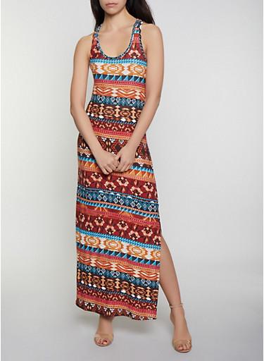 Aztec Print Tank Maxi Dress,MULTI COLOR,large