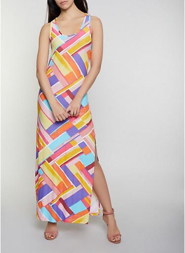 Printed Racerback Tank Maxi Dress,YELLOW,large