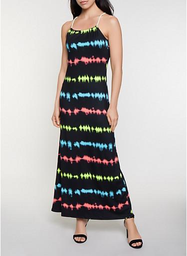 Striped Rope Strap Maxi Dress,BLACK,large