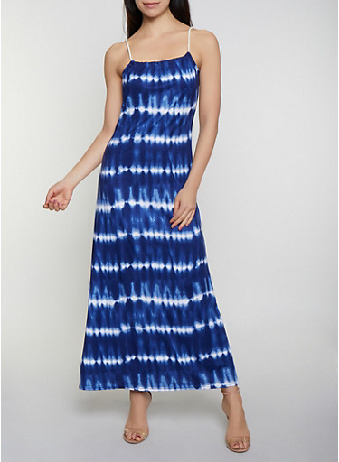 Soft Knit Tie Dye Maxi Dress,NAVY,large
