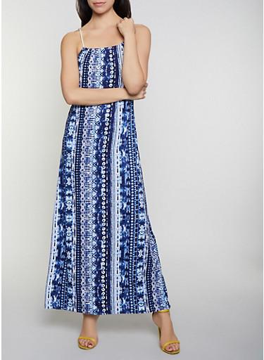 Printed Tie Dye Maxi Dress,NAVY,large