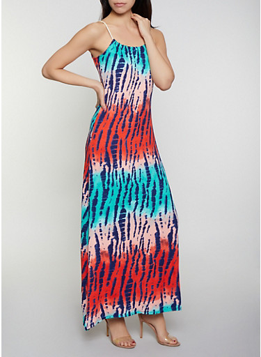 Rope Strap Watermelon Tie Dye Maxi Dress,RED,large