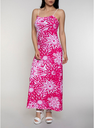 Tie Dye Soft Knit Maxi Dress,PINK,large