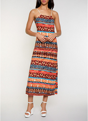 Printed Rope Strap Maxi Dress,RUST,large