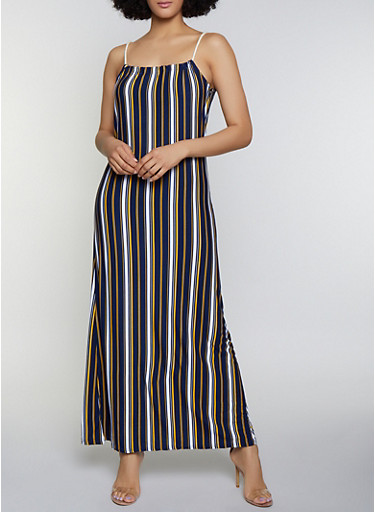 Striped Keyhole Maxi Dress,NAVY,large