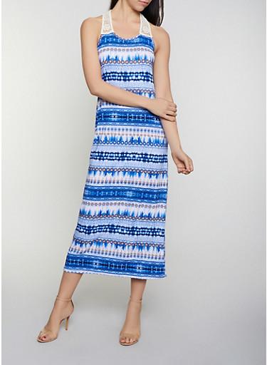 Crochet Yoke Printed Maxi Dress,BLUE,large