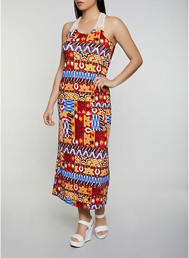 Crochet Yoke Printed Soft Knit Maxi Dress,RUST,large