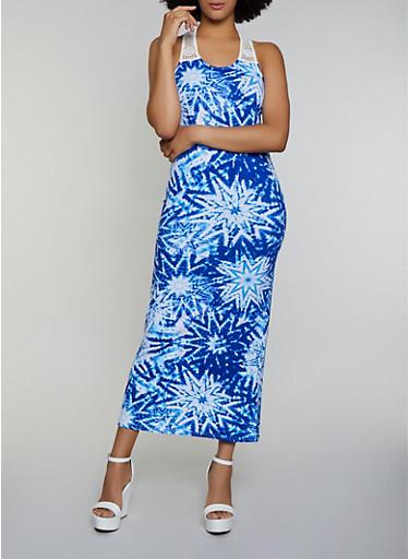 Tie Dye Crochet Yoke Maxi Tank Dress,NAVY,large