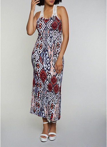 Printed Crochet Insert Maxi Dress,IVORY,large