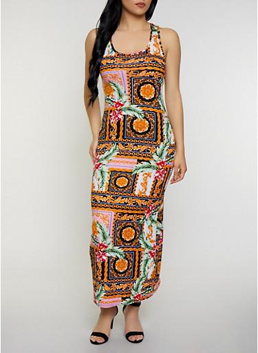 Mixed Print Tank Maxi Dress,MULTI COLOR,large