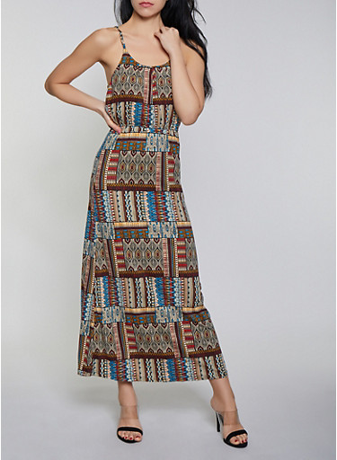 Sleeveless Printed Tie Back Maxi Dress,MULTI COLOR,large