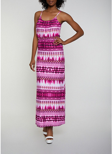 Soft Knit Printed Tie Dye Maxi Dress,WINE,large