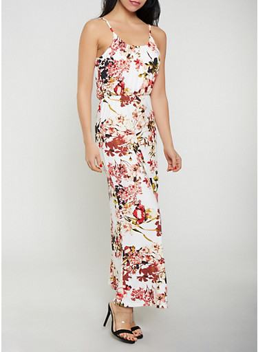 Floral Sleeveless Maxi Dress,IVORY,large