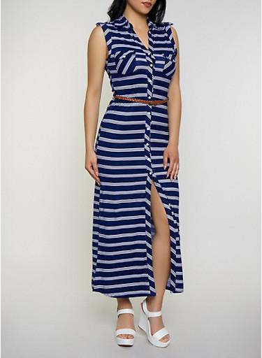 Striped Maxi Shirt Dress,NAVY,large