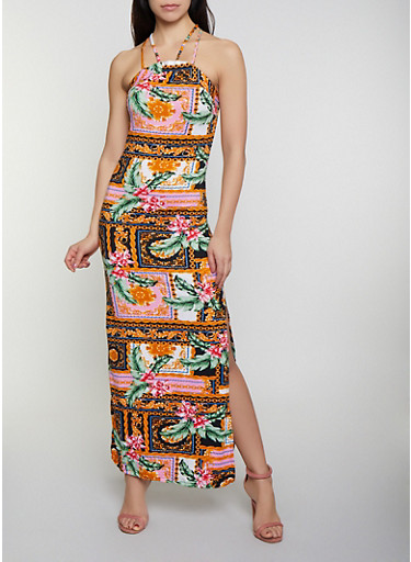 Double Strap Printed Maxi Dress,MULTI COLOR,large