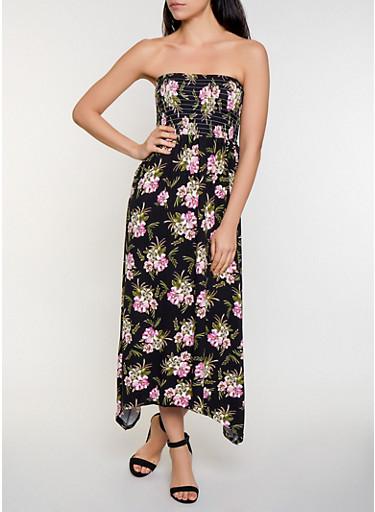 Smocked Floral Maxi Dress,BLACK,large