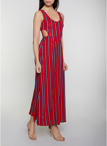 Cut Out Striped Maxi Dress,RED,large