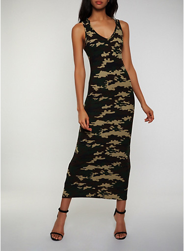 Hooded Camo Tank Maxi Dress,OLIVE,large