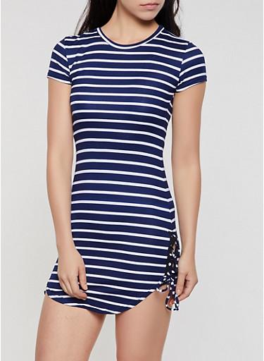 Striped Lace Up Hem T Shirt Dress,NAVY,large