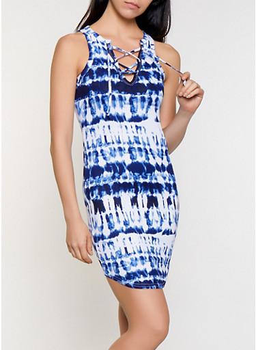 Tie Dye Lace Up Tank Dress,NAVY,large